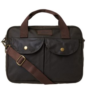 Waxed Cotton Messenger Bag – Barbour Wax Longthorpe Laptop Bag (Olive)