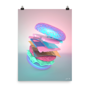 """Burger with Floppy Disk"" Art Print by Pastelae – NeonTalk"