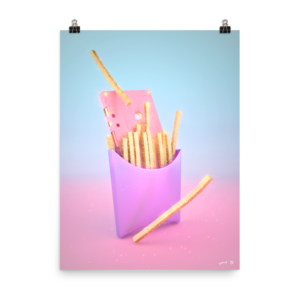 """Fries with Cassette"" Art Print by Pastelae – NeonTalk"
